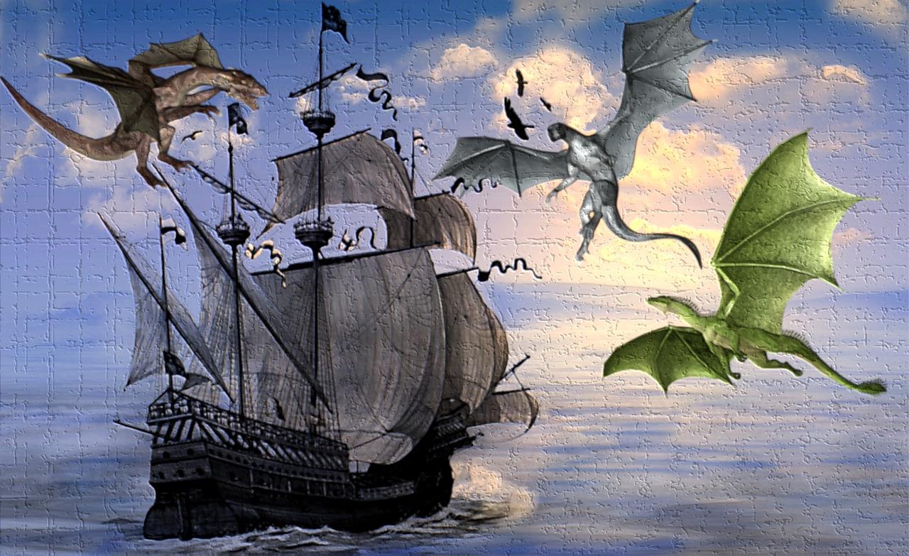 schiff drache