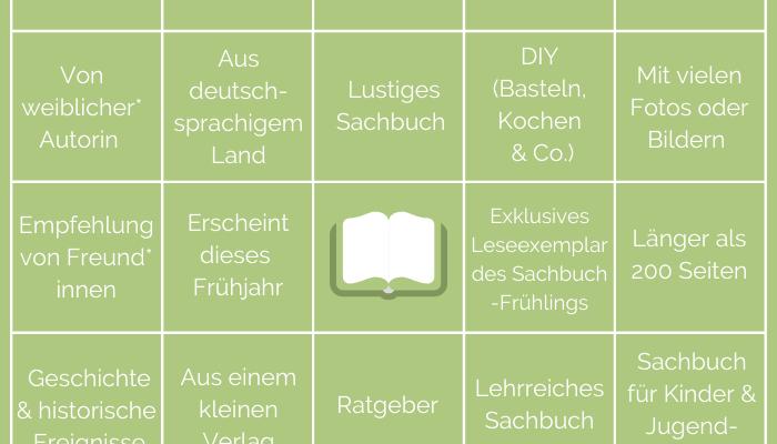 Sachbuchfrühling Buch Bingo