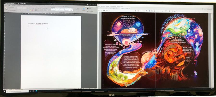 e-comic auf einem widescreen monitor